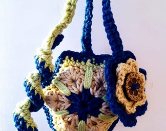 THE SEA EYE; African flower crochet keychain; Bag pendant; VerLen Crochet; Ready to ship