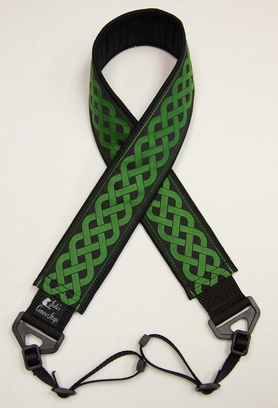 Celtic Green Camera Strap 2 in Wide Custom Padded Celtic Running Knot Design Green on Black DSLR SLR