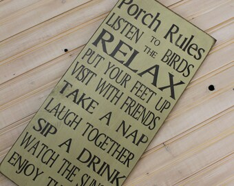 Porch Rules sign Custom Rules Rustic Primitive Vintage Style Porch Rules Typography Word Art Sign