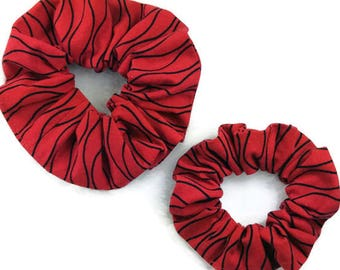 Mom and me hair scrunchies set, red black cotton scrunchie, mother daughter scrunchies pack, child adult women scrunchy, elastic hair ties