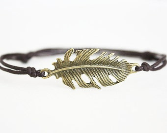 Feather Bracelet or Anklet in Antique Brass, Bronze Bracelet, Leaf Bracelet, Leaf Anklet, BFF Gift, Best Friend Gift, Nature Jewelry