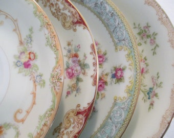 Vintage Mismatched China Saucers, Bridal Shower, Wedding, Tea Party, Tea Plates, Luncheon  - Set of 4