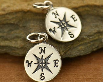 Compass Charm Sterling Silver Compass Pendant