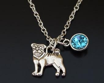 Pug Necklace, Pug Charm, Pug Pendant, Pug Jewelry, Pug Gift, Pug Lover Gift, Pug Life, Pug Mom, Pug Dog, Pug Memorial, Dog Necklace, Pug Sis