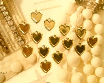 14 Goldplated Heart Charms