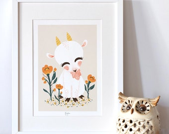 "Personalized art print for baby - nursery decor - birth gift idea - Collection ""Animignons"" cute animals - Goat"