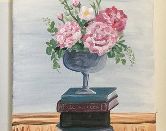 Pink Flowers and Books original painting