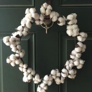 "Farmhouse Style cotton Wreath 14"" Rustic Cotton Wreath Simple Rustic Farmhouse Style Cotton Wreath"