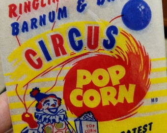 Old Unused Ringling Brothers Barnum & Bailey Circus Pop Corn Bags - Old - Original