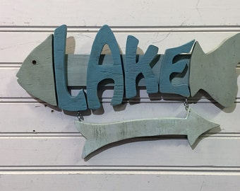 "Lake House Sign - 16"" wood lake sign - Wood  Fish Sign - great for lake house decor"
