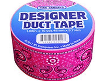Designer DUCT Tape PINK BANDANA design duct tape Medium pink with black and white accents 10 yds