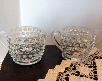 Fenton Hobnail Creamer Sugar / French Opalescent Fenton Creamer and Sugar