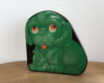 Vintage Green Puppy Dog Embossed Tin Box - sweets, toffee or candy