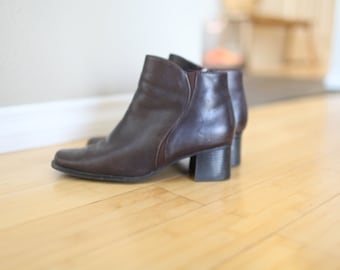 vintage brown leather oxfords ankle boots womens  8 1/2