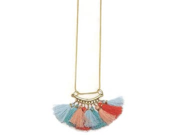 Colorful Tassel Necklace - Colorful Boho Necklace - Boho Tassel Necklace - Boho Pendant Necklace - Tassel Pendant Necklace - Boho Necklace