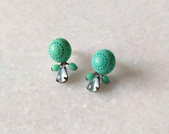 Small earrings in green - Aztec (SD1296)