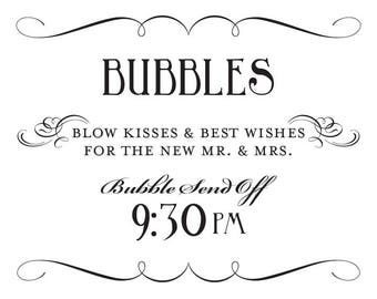 Bubble Send Off Well Wishes Sign Printable DIY Digital File PDF Favor Signage Wedding Do it Yourself 9:30 Fancy Scroll