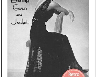 1930's Evening Gown & Jacket Knitting/Crochet Pattern - Instant Download - PDF  Pattern