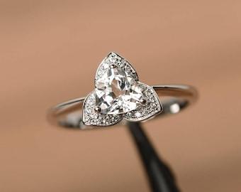 genuine natural white topaz ring engagement ring trillion cut sterling silver ring gemstone ring November birthstone ring