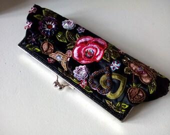 Boho Clutch, Evening handbag, Boho black bag, bag pouch, Handbag boho