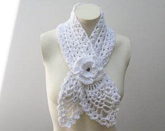 Crochet / Cotton Scarflette (Please read AVAILABILITY)