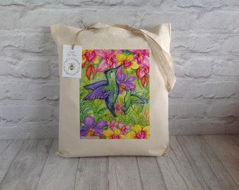 Bird Tote Bag / Reusable tote bag / Hummingbird Tote Bag / Shopping Bag / Cotton Tote / Eco Tote Bag /Farmers Market Bag / Mother's Day Gift