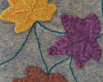 Fiber art, drink coaster, Handmade Penny Rug, Autumn Mug Rug, Autumn, Fall leaves