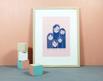 Hairy Girls | Linoldruck, Linolschnitt, Druckgrafik, Druck, Illustration, Girlgang, Girls, Mädchen, Geschenk für Sie, haarig, blau, rosa, A4