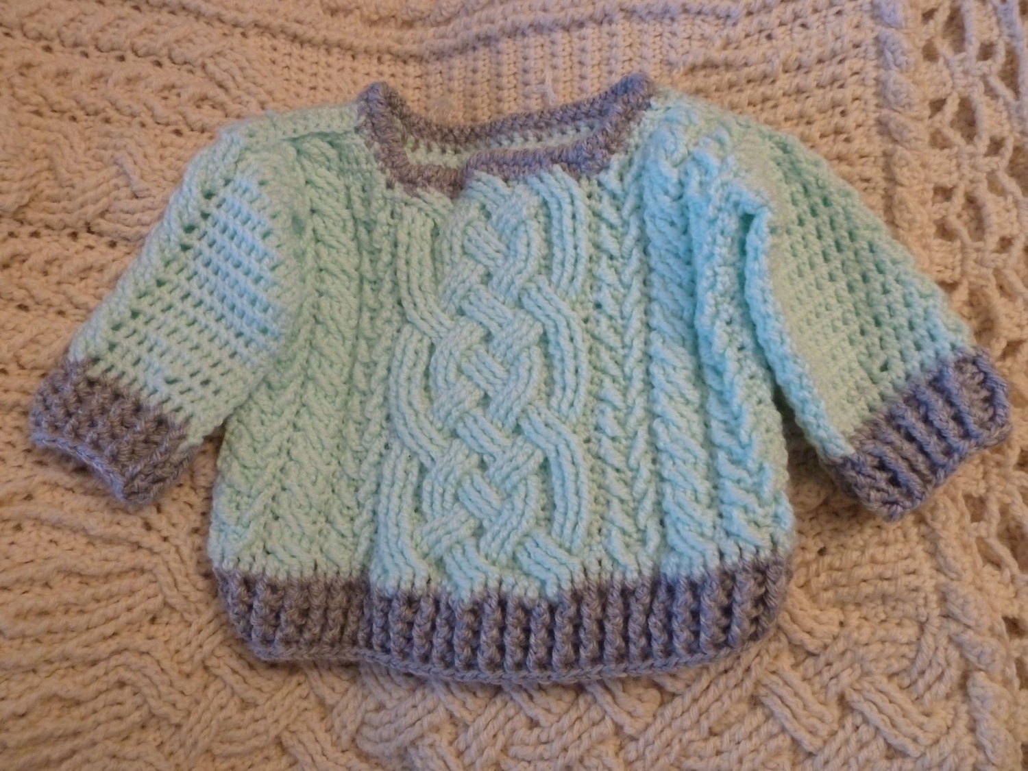 Aran Braided Cable Crochet Baby Sweater Pattern for boys and