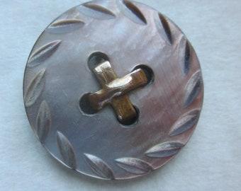 Imitation Sew Thru Carved Iridescent Abalone Shell Medium Pearl Button.Brass OME  OneWomanRepurposed B 420