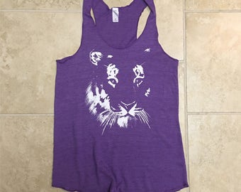 Cat shirt, tiger tank top, tiger shirt, yoga tank, workout tank, purple, activewear, spring, LSU Tigers, gift for her, big cat rescue
