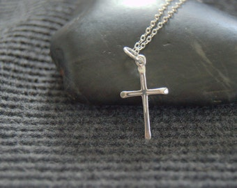 sterling silver cross necklace, minimalist necklace, first communion, confirmation gift, religious jewelry, catholic gift