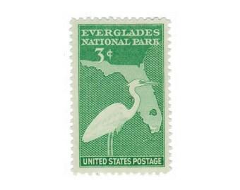 10 Unused Vintage Postage Stamps - 1947 3c Everglades National Park - Item No. 952