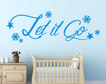 Let It Go FROZEN | Wall Art Sticker Quote | Kids Room Decal | Snowflake,