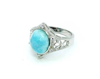 Larimar 12X10 Oval With White Sapphire Accents .925 Sterling Silver (New Style)