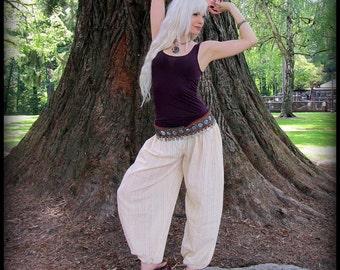 Harem Pants ~ Belly Dance Tribal Fusion Yoga Pants ~ Genie Pants Renaissance Festival Clothing ~ Red, Black,Cream White w/gold metal stripes