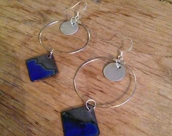 Steel blue enameled copper earrings