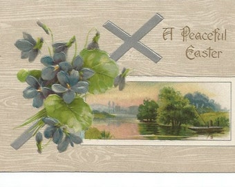 Purple Violets and Silver Cross Overlay Peaceful Lake Scene Vintage Postcard Easter Greeting 1921