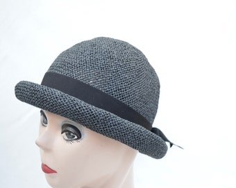 Black Straw Cloche Hat With Ribbon Trim / Victorian Style Cloche Hat /  Vintage Inspired  Cloche Hat With Rolled Brim