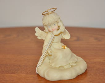 "Vintage Collectable Porcelain Heavenly Angel Figurine  "" Hello Mom, I Love You"""