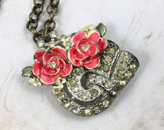 Vintage Assemblage Art Deco Collage Necklace with Vintage Enameled Roses - On Brass Chain - by Boutique Bijou