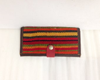 Kilim Wallet,woven wallet,red,striped wallet