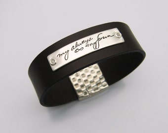 Men's Handwriting Jewelry, Sterling Silver and Leather Bracelet, Personalized Signature Keepsake, Gift for Dad or Brother, Memorial Jewelry