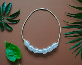 3D printed Bead Necklace, Recycled PET Bottles beige Neckace