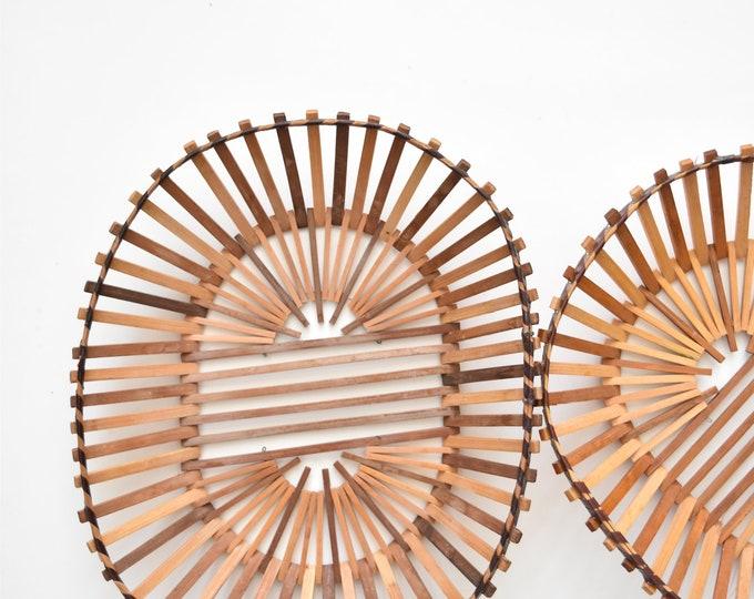 mid century wooden geometric bamboo basket / wall hanging basket / 1 basket