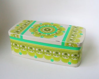 Ira Denmark Ethel von Horn rectangle vintage tin container, white and green - paper cut, lace - seventies colorful - 70's - retro