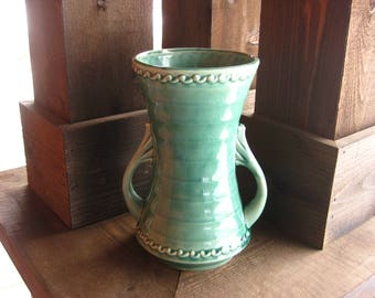 Large Pottery Vase, Vintage American Pottery, Soft Green, Cottage Chic, Art Deco Style