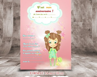 """""""Invitation for birthday cards 14 x 10"""" themed baby Rose """""""