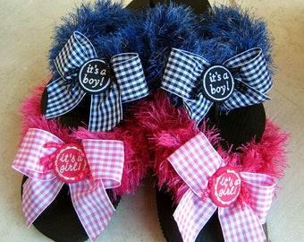 BABY BOY/GIRL Fun Fur Fuzzy Flip Flops, In Shocking Pink or Denim Indigo, Perfect Baby Shower Gift, For the Hospital, Comfy, Washable, Flats