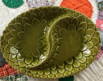 Olive green divided serving dish, California pottery, USA